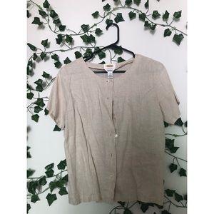 Vintage Irish Linen Button Down Shirt